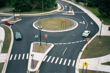 Okemos roundabout in Ingham County, Michigan, USA.