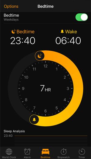 bedtime clock ios10