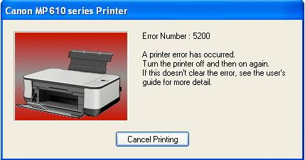 mp610 error 5200