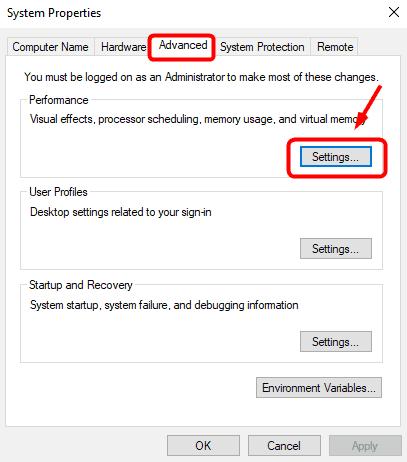 advanced tab settings