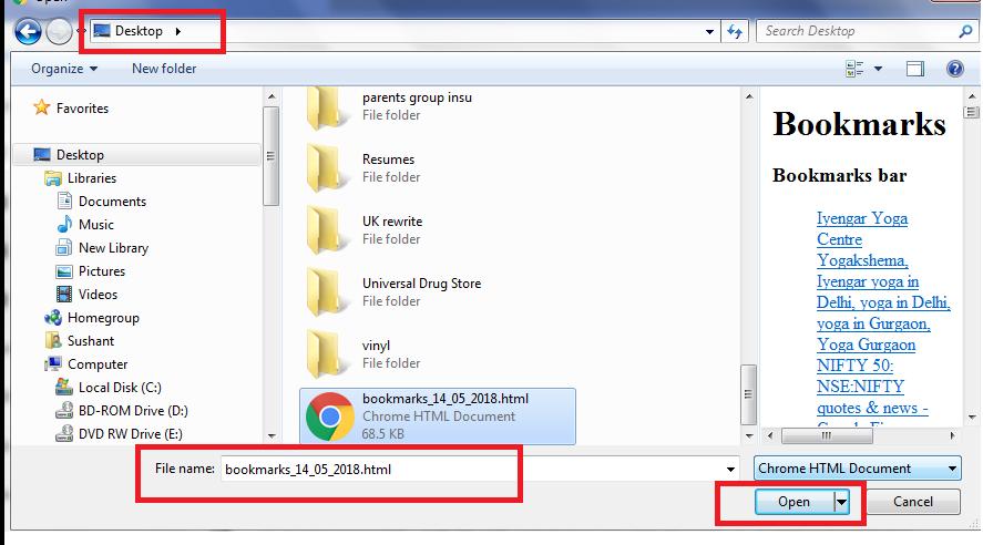 import bkmrk file