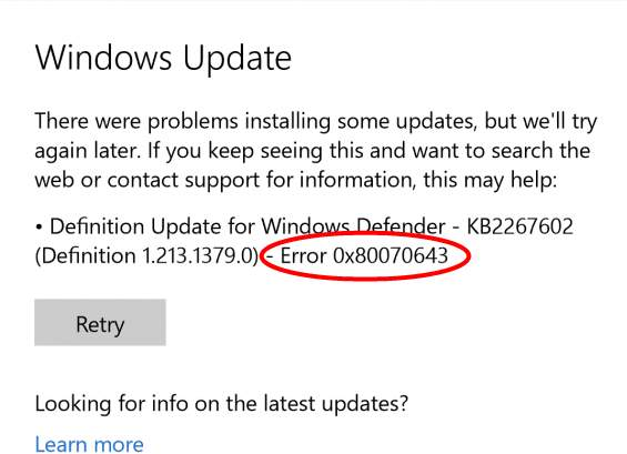 update error