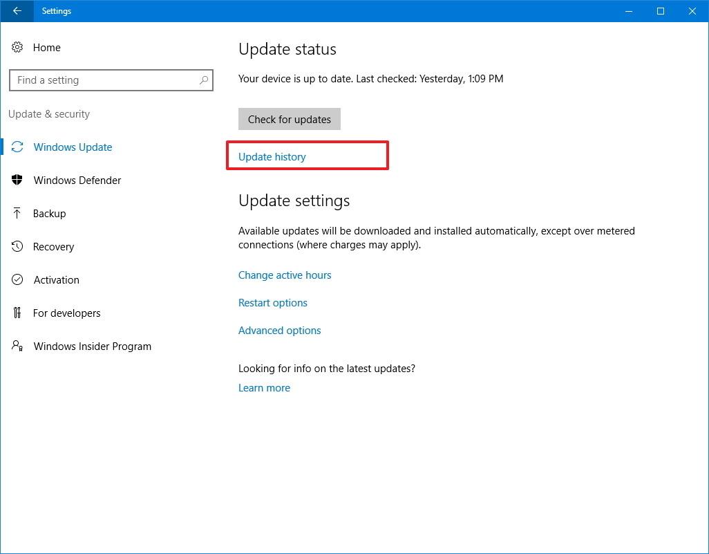 windows update history