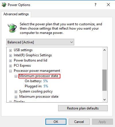 min processor state