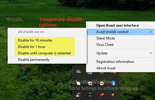 antivirus disable