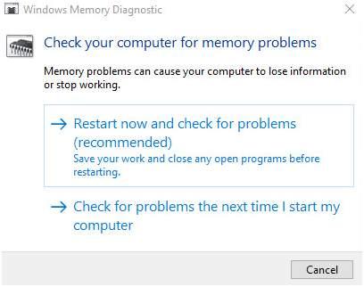 check memory options