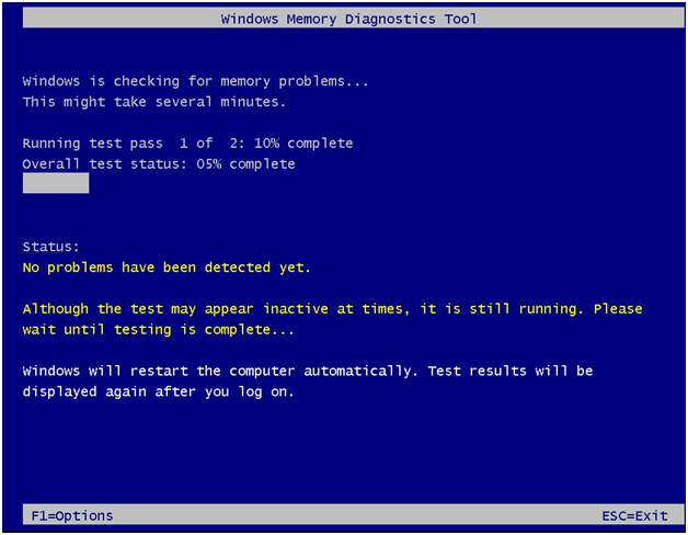 memory test running