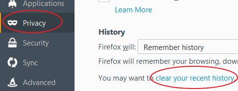 firefox clear history