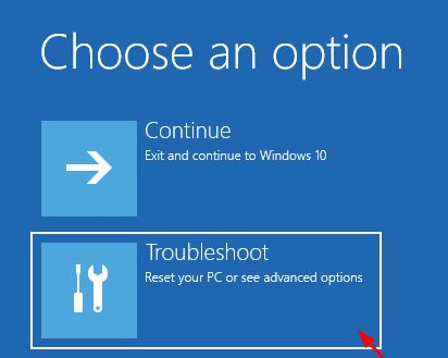 click troubleshoot