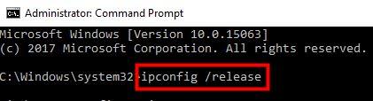 ipcofig-release
