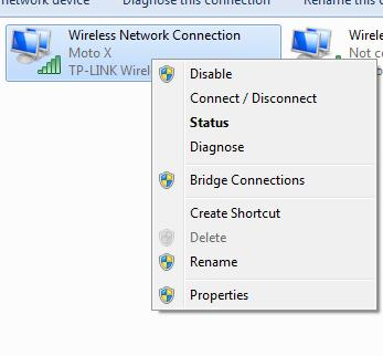 wi-fi properties menu