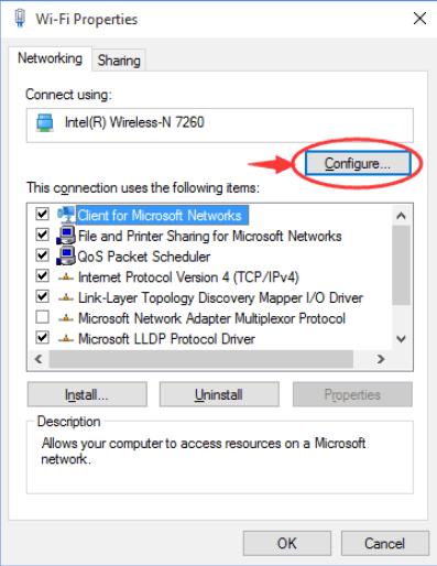 click configure