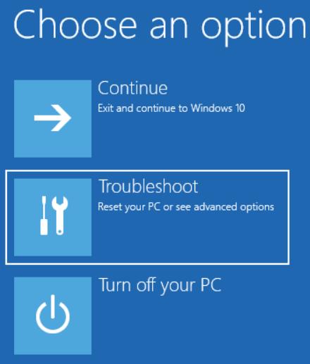 click troubleshoot