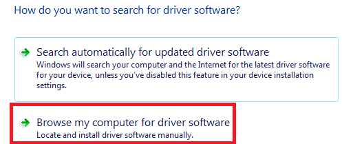 update driver - browse my computer