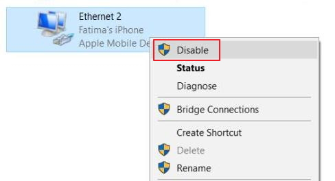 disable ethernet