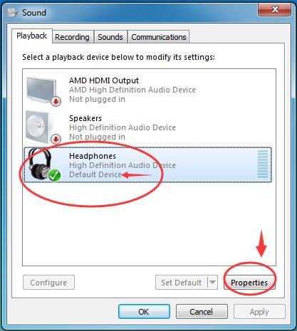 audio device properties