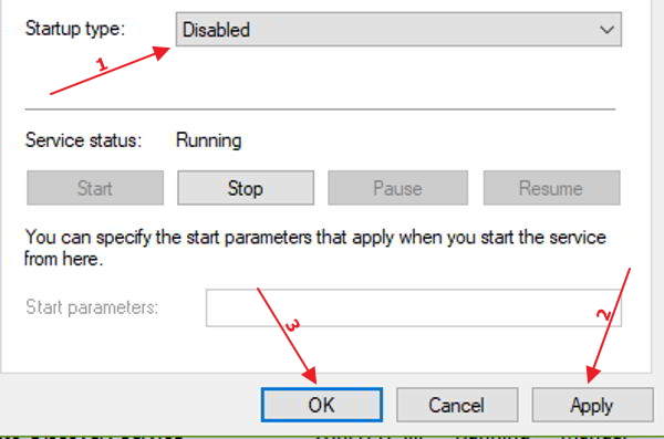windows service disabled