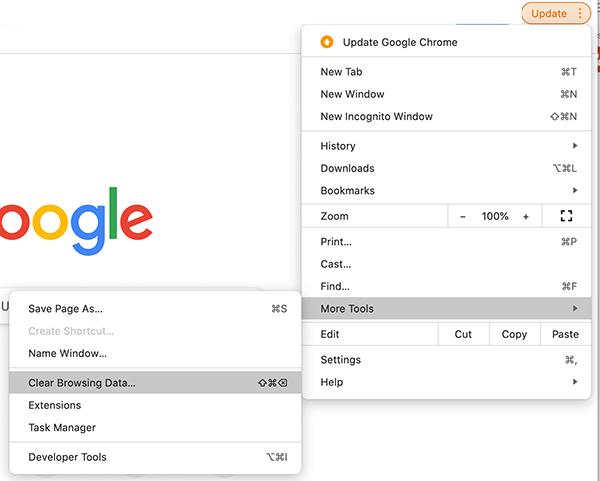 clear google cache menu