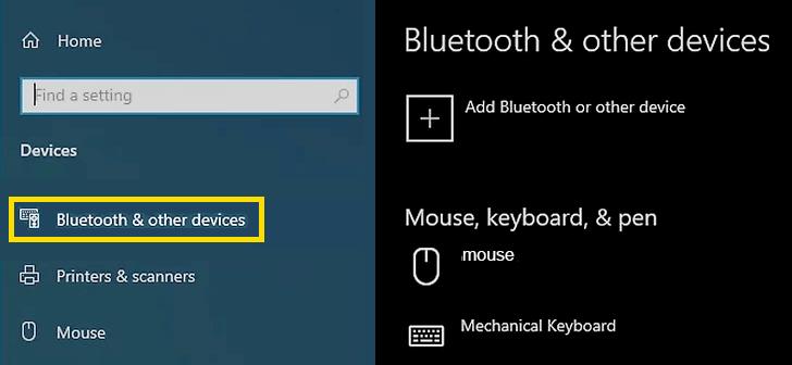 windows bluetooth settings