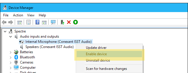 windows 10 microphone device manager