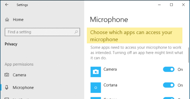 windows 10 allow apps to access microphone